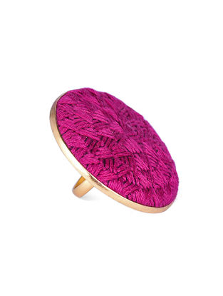 Pink Embroidered Gold-plated Brass Adjustable Ring