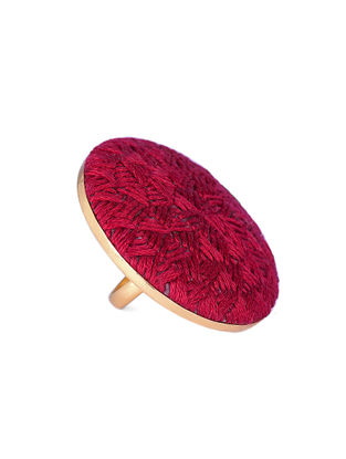 Red Embroidered Gold-plated Brass Adjustable Ring