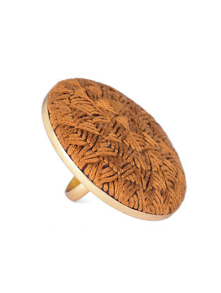 Mustard Embroidered Gold-plated Brass Adjustable Ring