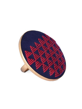 Red-Blue Embroidered Gold-plated Brass Adjustable Ring