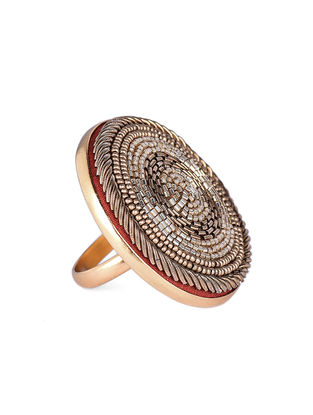 Golden Beaded Gold-plated Brass Adjustable Ring