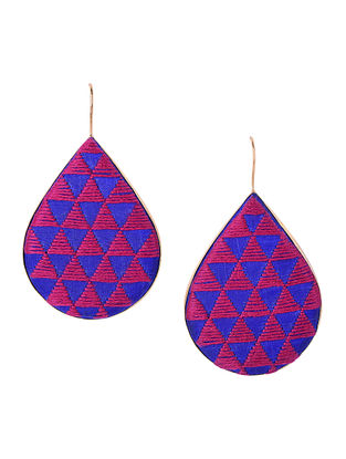 Blue-Pink Embroidered Gold-plated Brass Earrings