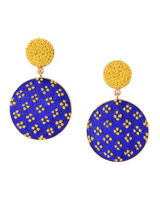 Blue-Yellow Embroidered Gold-plated Brass Earrings