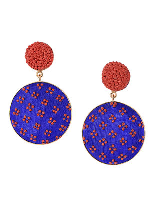 Blue-Orange Embroidered Gold-plated Brass Earrings