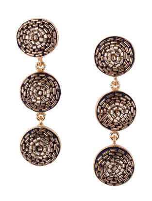 Golden Beaded Gold-plated Brass Earrings
