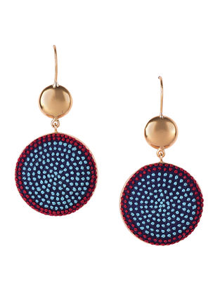 Aqua-Red Embroidered Gold-plated Brass Earrings