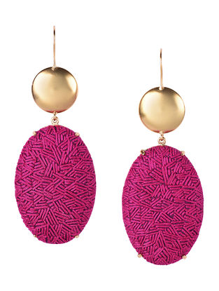 Pink-Golden Embroidered Gold-plated Brass Earrings