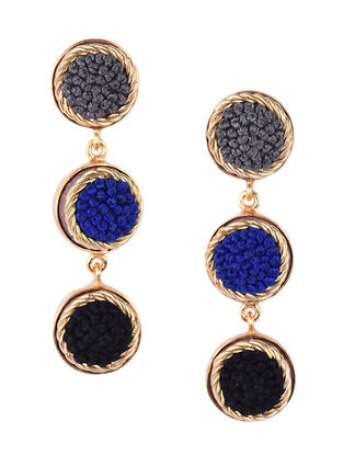 Grey- Blue Beaded Gold-plated Brass Earrings