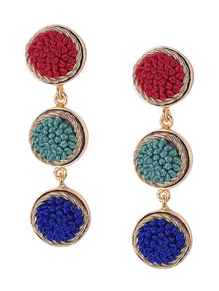 Multicolored Embroidered Gold-plated Brass Earrings