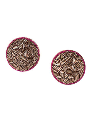Golden Embroidered Gold-plated Brass Earrings