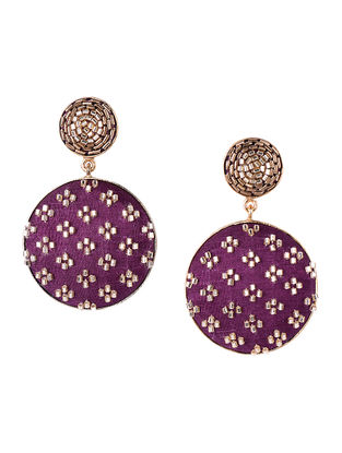 Wine-Golden Beaded Gold-plated Brass Earrings
