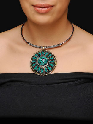 Green Choker with Floral Motif