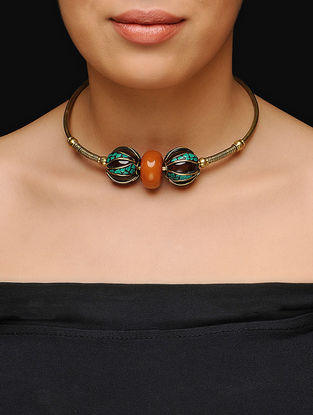 Green-Orange Gold Tone Choker