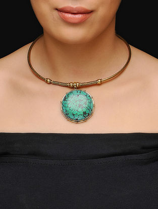 Turquoise Gold Tone Choker