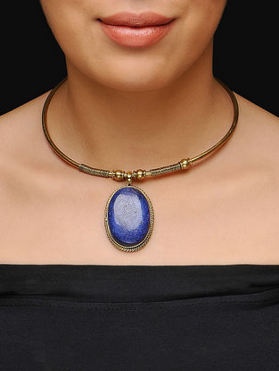 Blue Gold Tone Choker