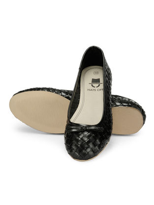 Black Woven Leather Ballerinas