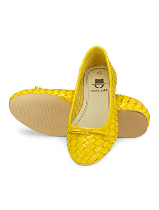 Yellow Woven Leather Ballerinas