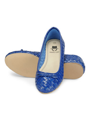 Blue Woven Leather Ballerinas