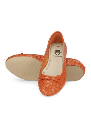 Orange Woven Leather Ballerinas