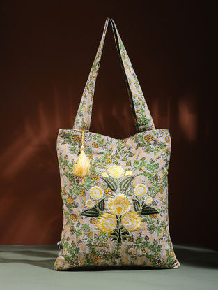 Beige-Yellow Embroidered Cotton Tote Bag