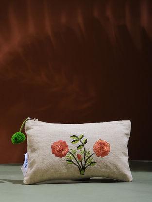 Beige-Orange Embroidered Cotton Pouch