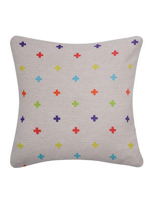 Multicolored Printed Cotton Cushion Cover (16in x 16in)