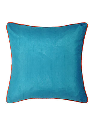 Teal Silk Cushion Cover With Piping (16in x 16in)