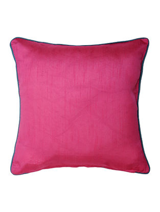 Fuschia Silk Cushion Cover with Piping (16in x 16in)