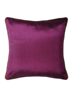 Purple Silk Cushion Cover with Piping (16in x 16in)