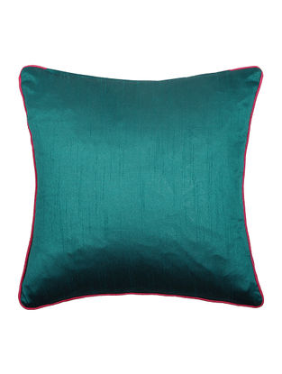 Green Silk Cushion Cover with Piping (16in x 16in)