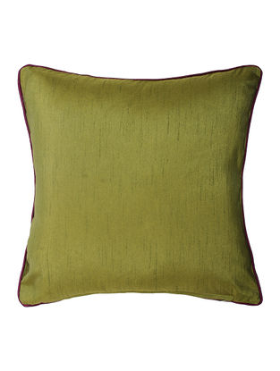 Olive Silk Cushion Cover with Piping (16in x 16in)