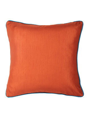 Rust Silk Cushion Cover with Piping (16in x 16in)