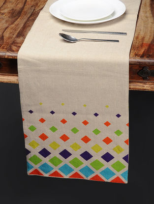 Multicolored Printed Cotton Table Runner (65in x 13in)