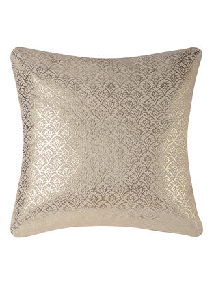 Off-White Foil-printed Cotton Cushion Cover (16in x 16in)