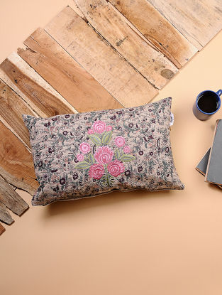 Beige-Multicolored Printed and Embroidered Cotton Cushion Cover (20in x 12in)