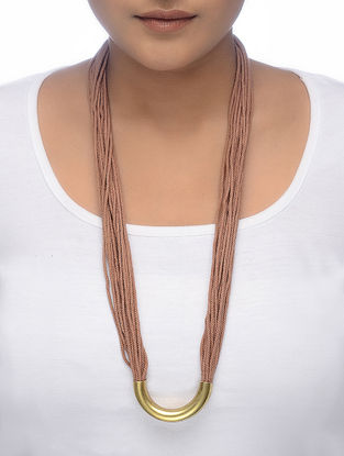 Brown Gold Tone Thread Necklace