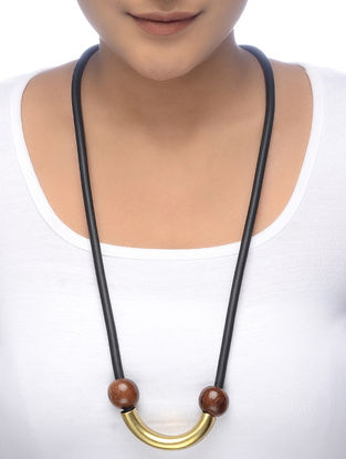 Black Gold Tone Wood Beaded Necklace