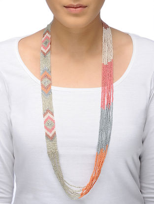 Peach-Grey Beaded Necklace