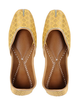 Yellow Handcrafted Brocade Silk and Leather Jutti