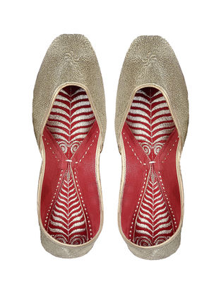 Gold-Red Handcrafted Leather Jutti