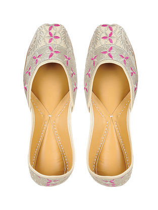 Silver-Pink Handcrafted Leather Jutti