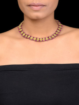 Pink Thread Gold Tone Beaded Necklace
