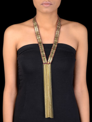 Classic Gold Tone Beaded Thread Necklace