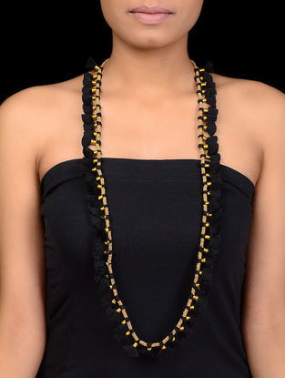 Black Thread Gold Tone Beaded Necklace with Tassels
