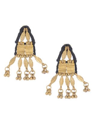 Black Thread Gold Tone Earrings