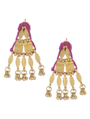 Pink Thread Gold Tone Earrings