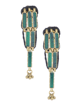 Teal Glass Thread Earrings