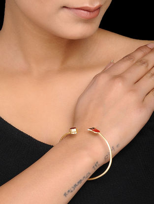 Red-Black Enameled Gold Tone Silver Cuff