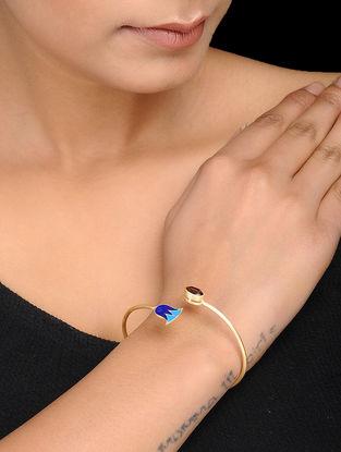 Blue Enameled Gold Tone Silver Cuff