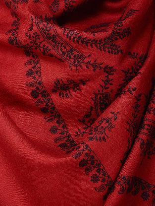 Red-Black Sozni-embroidered Pashmina Stole